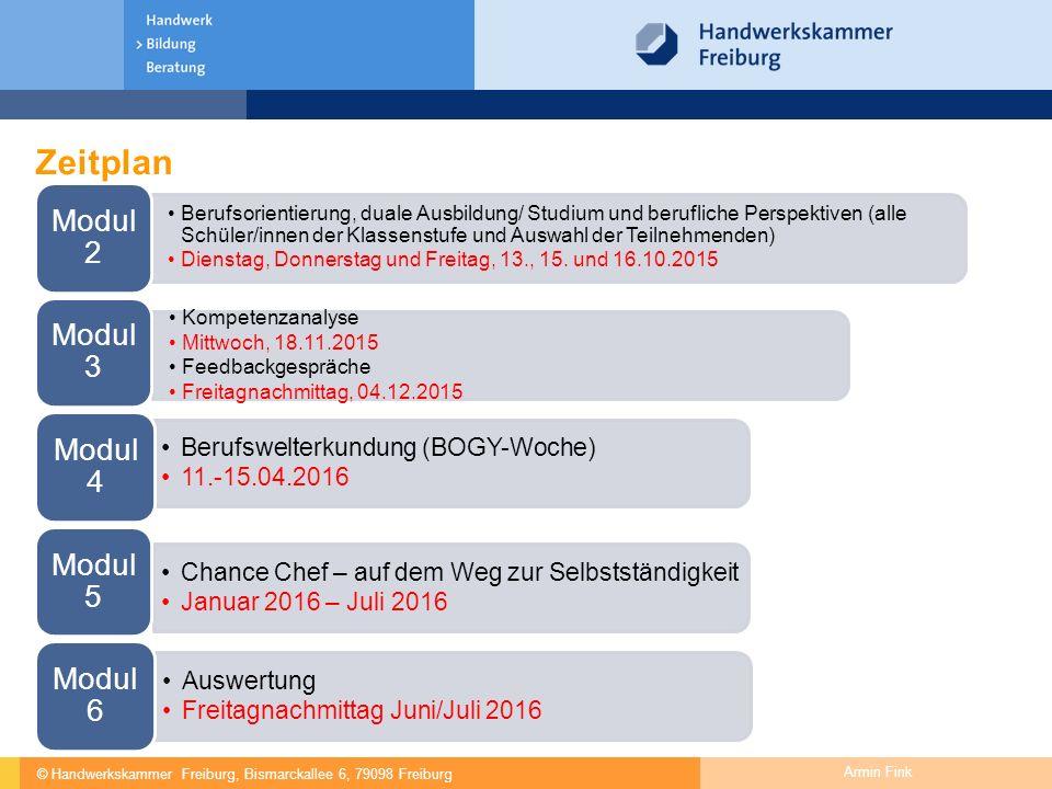 © Handwerkskammer Freiburg, Bismarckallee 6, 79098 Freiburg Armin Fink Zeitplan Berufsorientierung, duale Ausbildung/ Studium und berufliche Perspekti