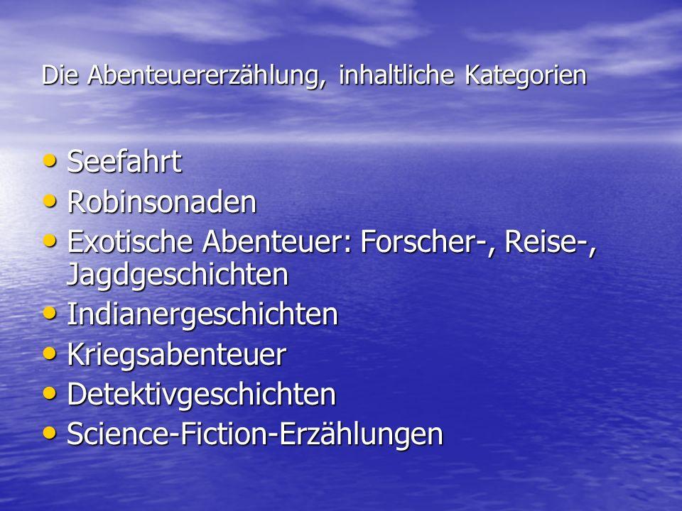 Die Abenteuererzählung, inhaltliche Kategorien Seefahrt Seefahrt Robinsonaden Robinsonaden Exotische Abenteuer: Forscher-, Reise-, Jagdgeschichten Exo
