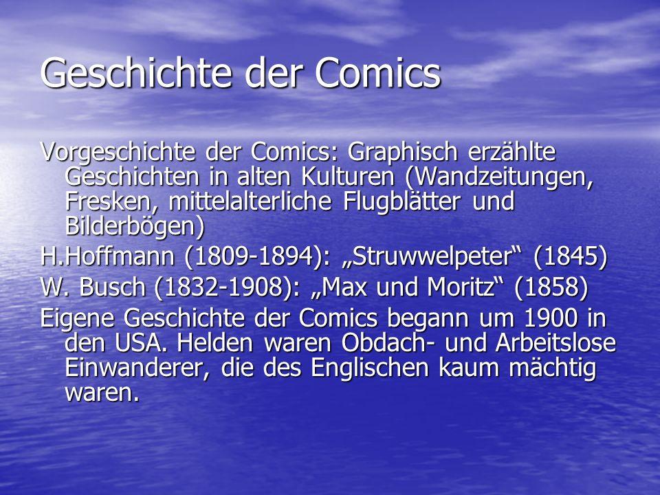 Geschichte der Comics Vorgeschichte der Comics: Graphisch erzählte Geschichten in alten Kulturen (Wandzeitungen, Fresken, mittelalterliche Flugblätter