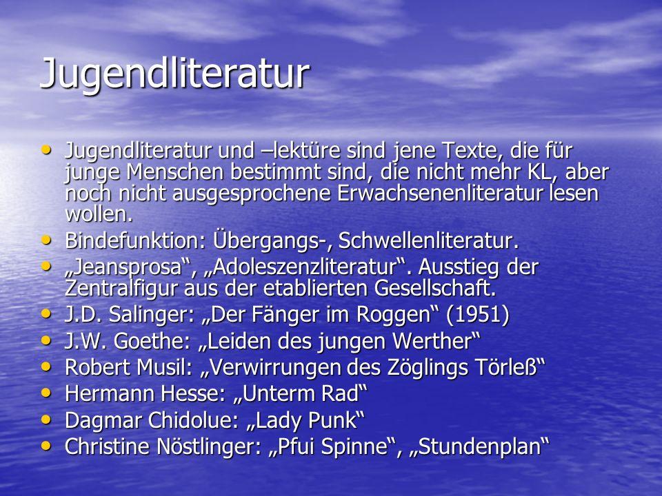 Dějiny dětské literatury Die Bezeichnung Kinderliteratur geht auf das letzte Drittel des 18.