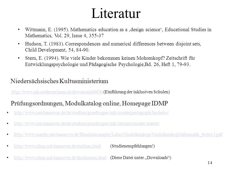 14 Literatur Wittmann, E. (1995). Mathematics education as a 'design science', Educational Studies in Mathematics, Vol. 29, Issue 4, 355-37 Hudson, T.