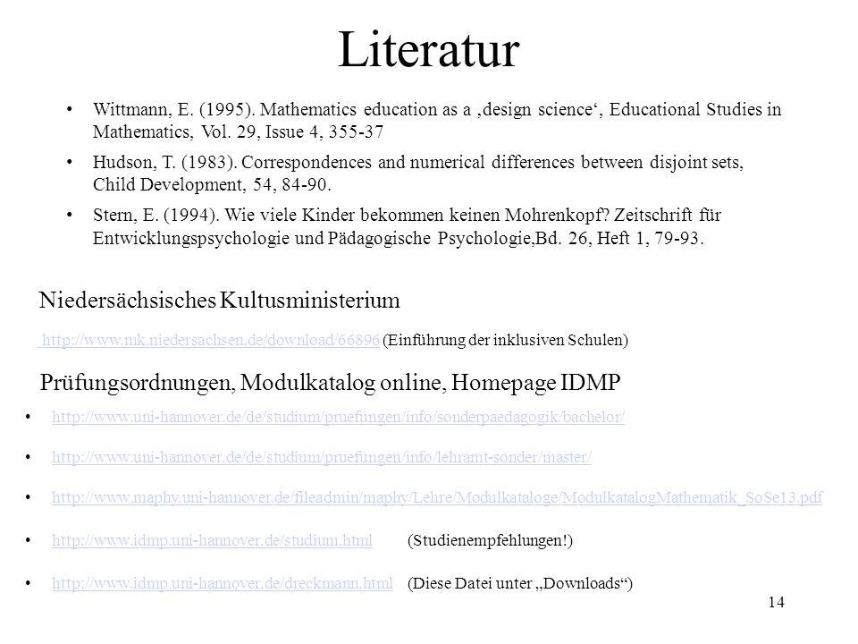 14 Literatur Wittmann, E. (1995).