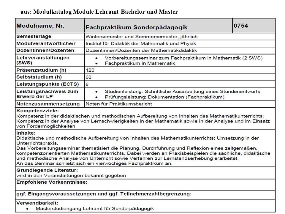aus: Modulkatalog Module Lehramt Bachelor und Master