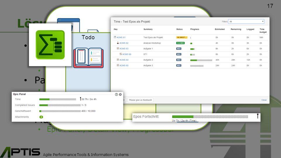Agile Performance Tools & Information Systems Lösungen Epics wurden zu Projekten Projekte haben jetzt einen Workflow (weil sie ebenfalls ein Vorgang sind) Beendete Projekte stören nicht mehr die Übersicht Paradigma: Epic = Zentraler Informationshub extrem kurze Suchwege zu Informationen (z.