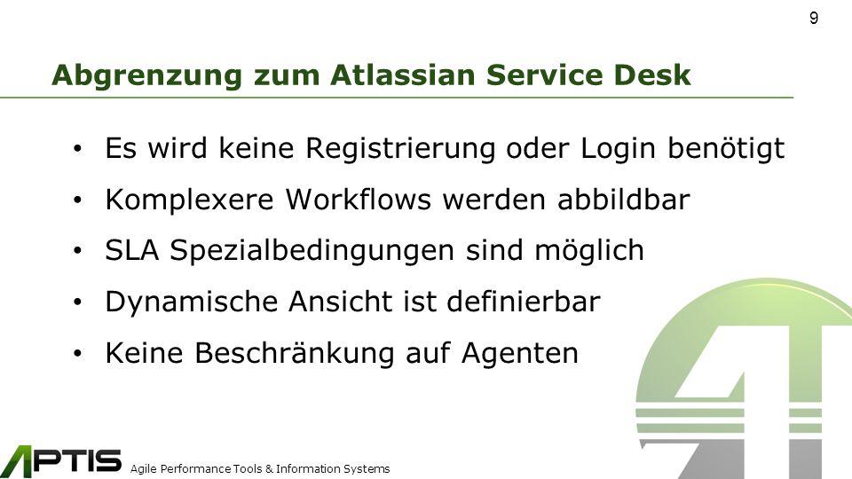 Agile Performance Tools & Information Systems Abgrenzung zum Atlassian Service Desk Es wird keine Registrierung oder Login benötigt Komplexere Workflows werden abbildbar SLA Spezialbedingungen sind möglich Dynamische Ansicht ist definierbar Keine Beschränkung auf Agenten 9