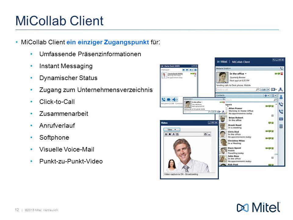 | ©2015 Mitel. Vertraulich. MiCollab Client MiCollab Client ein einziger Zugangspunkt für : Umfassende Präsenzinformationen Instant Messaging Dynamisc