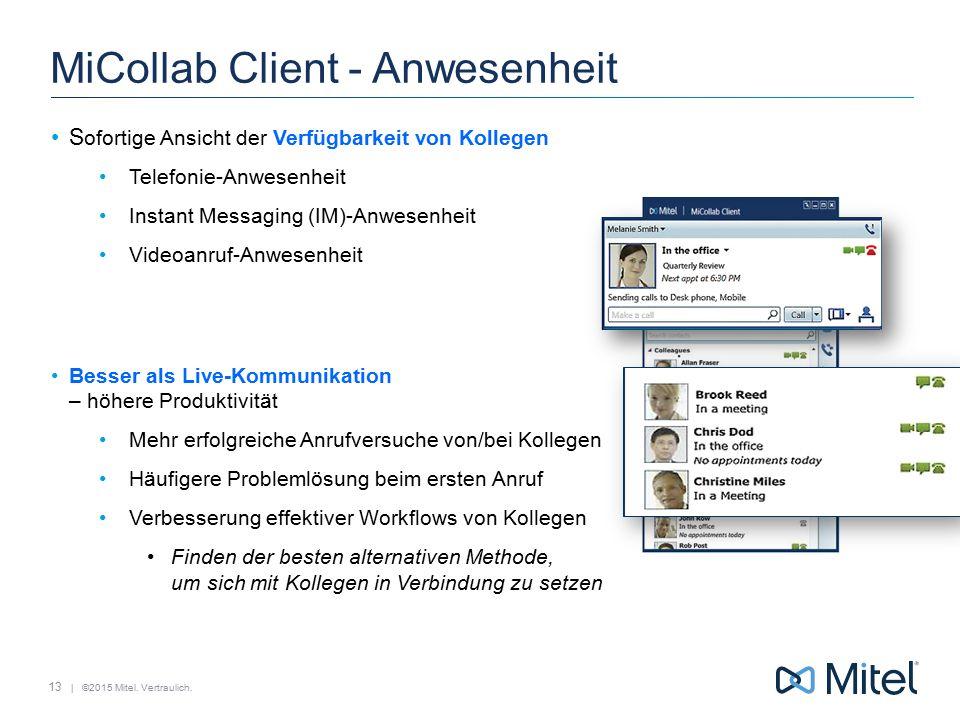 | ©2015 Mitel. Vertraulich. MiCollab Client - Anwesenheit S ofortige Ansicht der Verfügbarkeit von Kollegen Telefonie-Anwesenheit Instant Messaging (I