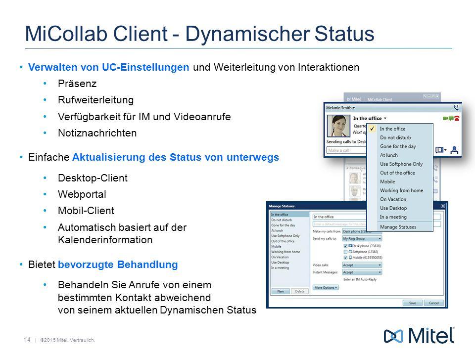 | ©2015 Mitel. Vertraulich. MiCollab Client - Dynamischer Status Verwalten von UC-Einstellungen und Weiterleitung von Interaktionen Präsenz Rufweiterl