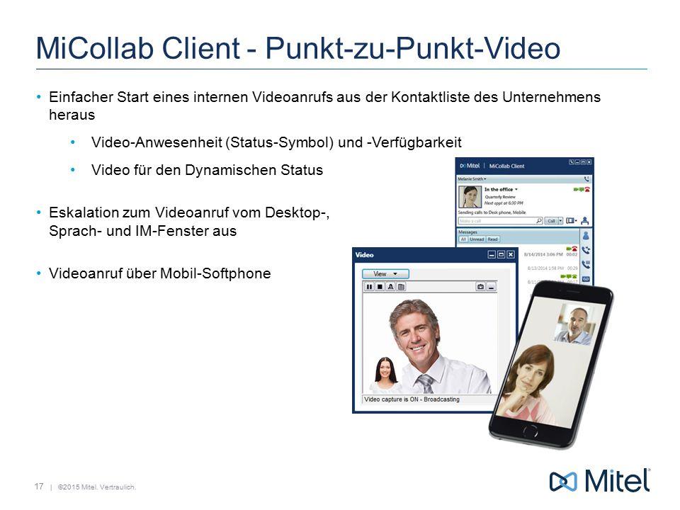 | ©2015 Mitel. Vertraulich. MiCollab Client - Punkt-zu-Punkt-Video Einfacher Start eines internen Videoanrufs aus der Kontaktliste des Unternehmens he