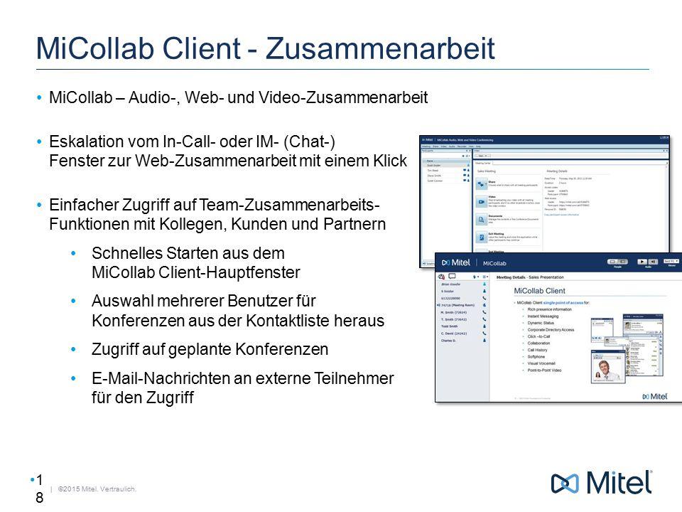 | ©2015 Mitel. Vertraulich. MiCollab Client - Zusammenarbeit MiCollab – Audio-, Web- und Video-Zusammenarbeit Eskalation vom In-Call- oder IM- (Chat-)