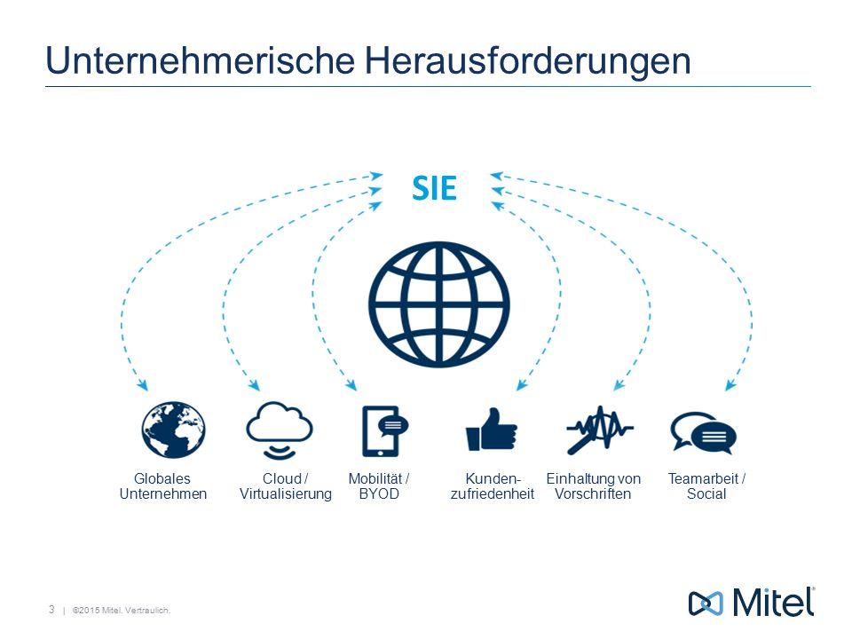 | ©2015 Mitel. Vertraulich. Unternehmerische Herausforderungen 3 Globales Unternehmen Mobilität / BYOD Cloud / Virtualisierung Teamarbeit / Social Kun