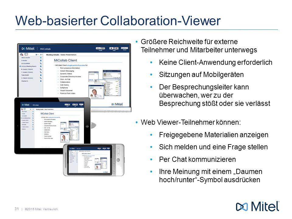 | ©2015 Mitel. Vertraulich. Web-basierter Collaboration-Viewer Größere Reichweite für externe Teilnehmer und Mitarbeiter unterwegs Keine Client-Anwend