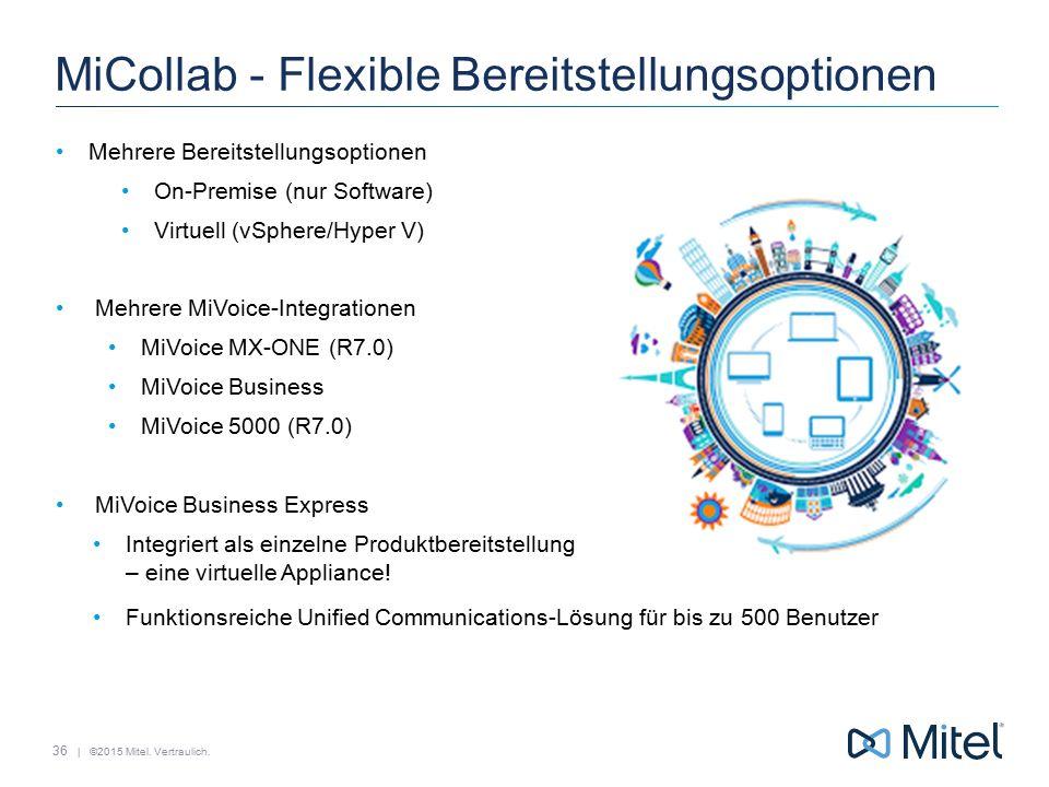| ©2015 Mitel. Vertraulich. MiCollab - Flexible Bereitstellungsoptionen Mehrere Bereitstellungsoptionen On-Premise (nur Software) Virtuell (vSphere/Hy
