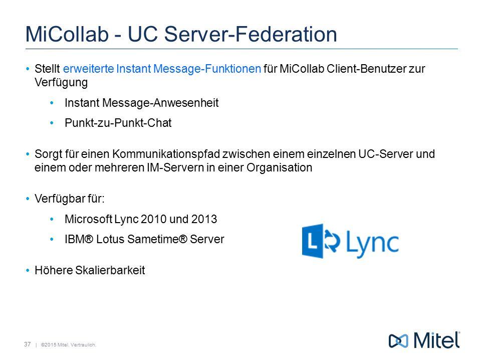 | ©2015 Mitel. Vertraulich. MiCollab - UC Server-Federation Stellt erweiterte Instant Message-Funktionen für MiCollab Client-Benutzer zur Verfügung In