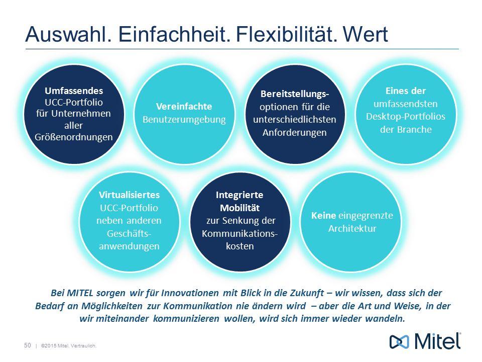 | ©2015 Mitel. Vertraulich. Auswahl. Einfachheit. Flexibilität. Wert Umfassendes UCC-Portfolio für Unternehmen aller Größenordnungen Vereinfachte Benu