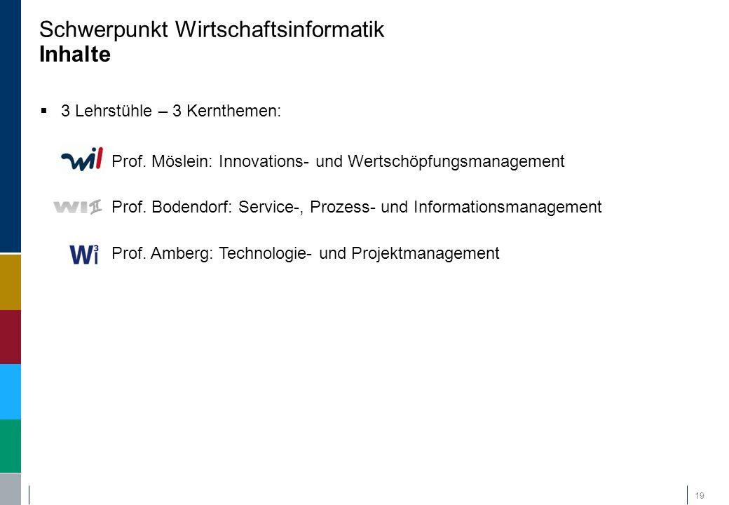  3 Lehrstühle – 3 Kernthemen:  Prof. Möslein: Innovations- und Wertschöpfungsmanagement  Prof. Bodendorf: Service-, Prozess- und Informationsmanage