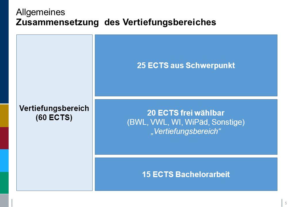 Allgemeines Zusammensetzung des Vertiefungsbereiches 5 Vertiefungsbereich (60 ECTS) 25 ECTS aus Schwerpunkt 20 ECTS frei wählbar (BWL, VWL, WI, WiPäd,