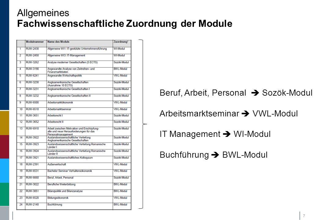 Allgemeines Fachwissenschaftliche Zuordnung der Module 7 Beruf, Arbeit, Personal  Sozök-Modul Arbeitsmarktseminar  VWL-Modul IT Management  WI-Modu