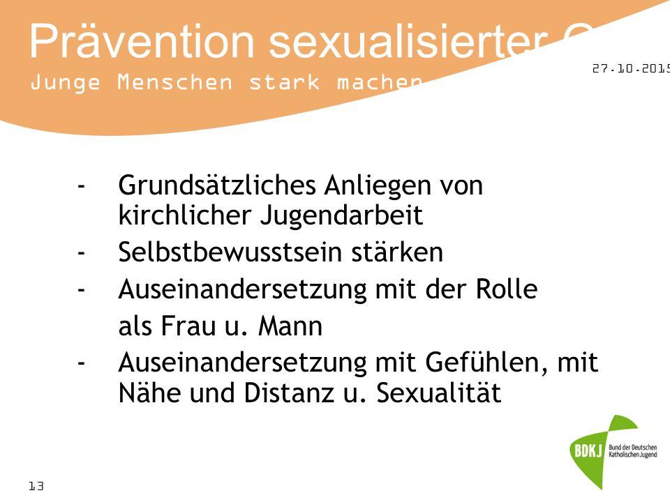 27.10.2015 13 Prävention sexualisierter Gewalt Junge Menschen stark machen -Grundsätzliches Anliegen von kirchlicher Jugendarbeit -Selbstbewusstsein stärken -Auseinandersetzung mit der Rolle als Frau u.