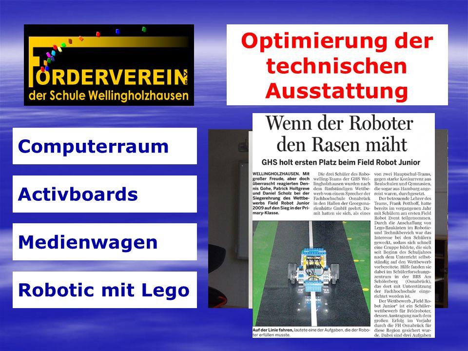 Optimierung der technischen Ausstattung Computerraum Activboards Medienwagen Robotic mit Lego