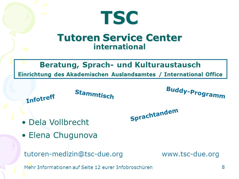19 Informationsveranstaltung Montag, 9.