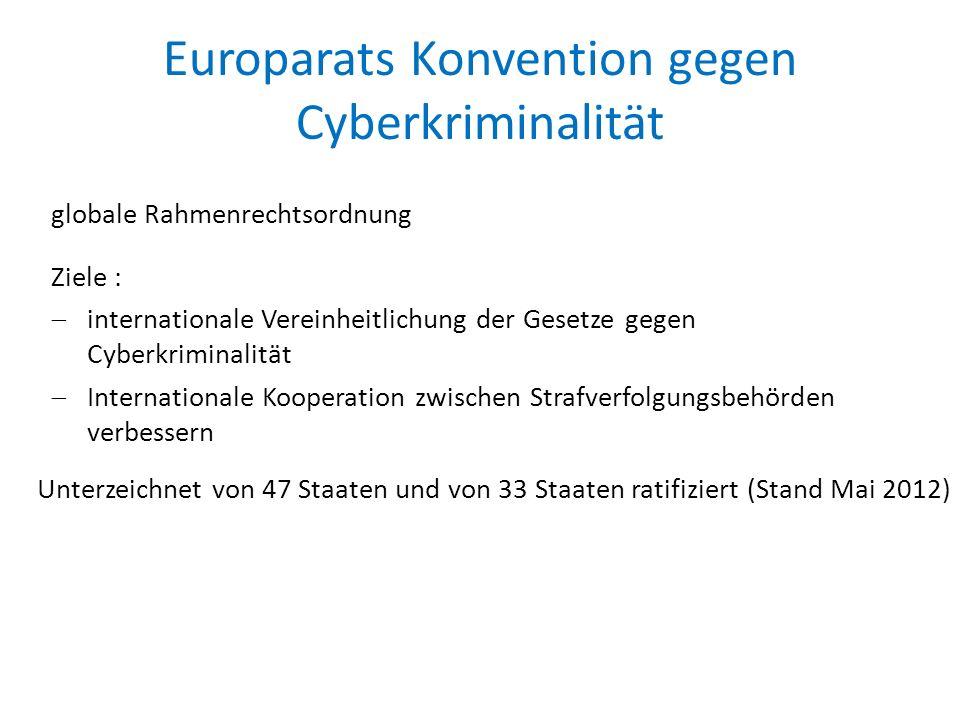 Europarats Konvention gegen Cyberkriminalität globale Rahmenrechtsordnung Ziele :  internationale Vereinheitlichung der Gesetze gegen Cyberkriminalität  Internationale Kooperation zwischen Strafverfolgungsbehörden verbessern Unterzeichnet von 47 Staaten und von 33 Staaten ratifiziert (Stand Mai 2012)