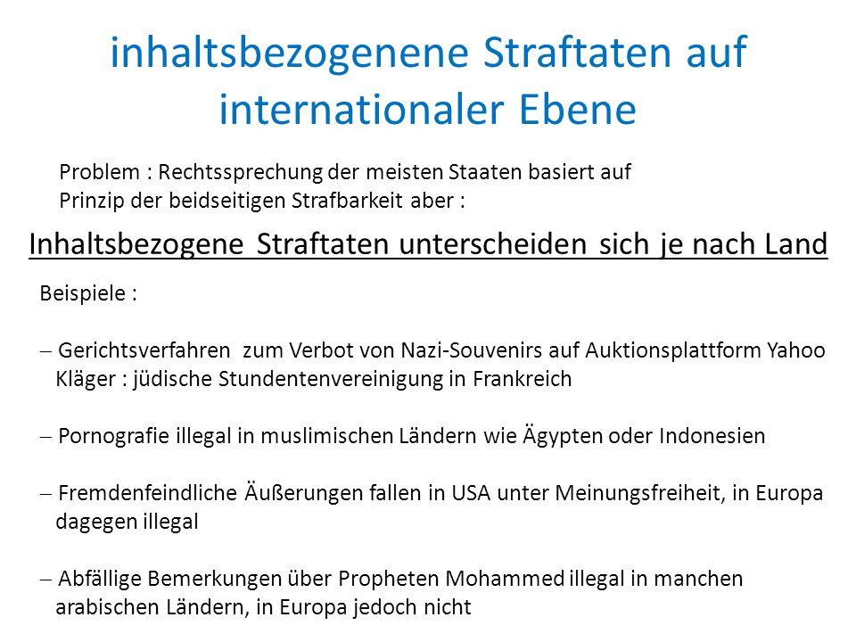 inhaltsbezogenene Straftaten auf internationaler Ebene Inhaltsbezogene Straftaten unterscheiden sich je nach Land Beispiele :  Gerichtsverfahren zum