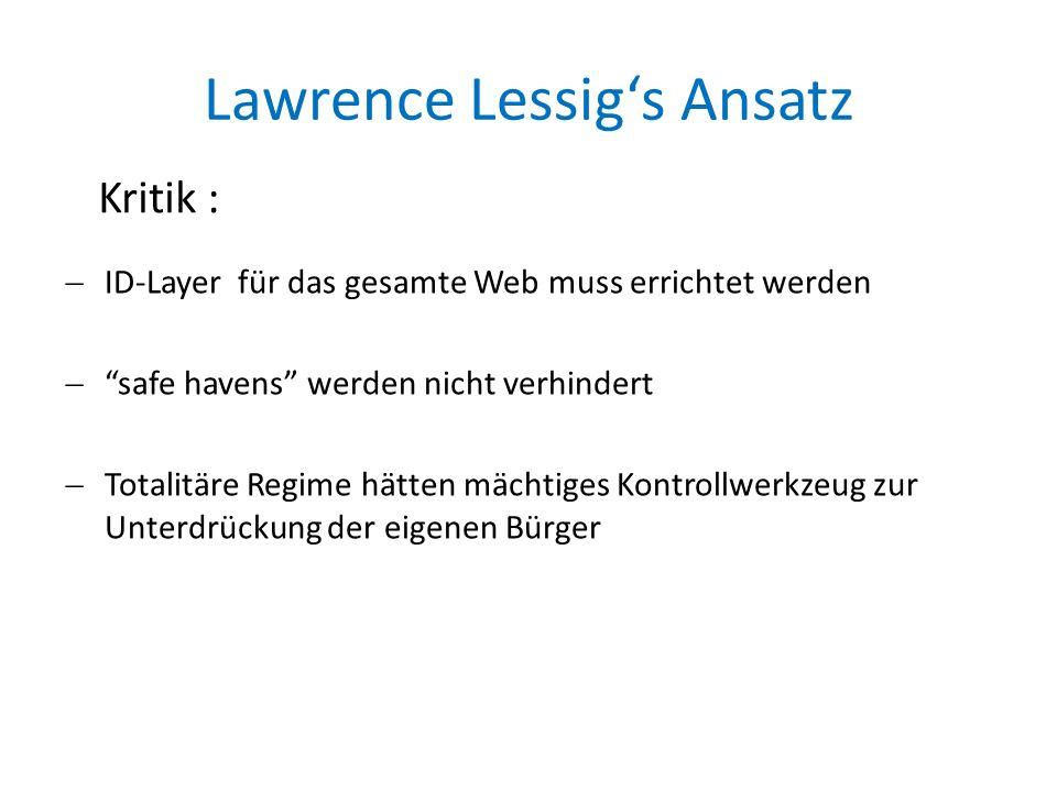 Lawrence Lessig's Ansatz  ID-Layer für das gesamte Web muss errichtet werden  safe havens werden nicht verhindert  Totalitäre Regime hätten mächtiges Kontrollwerkzeug zur Unterdrückung der eigenen Bürger Kritik :