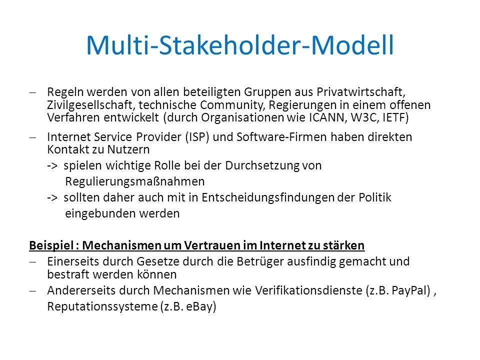 Multi-Stakeholder-Modell  Regeln werden von allen beteiligten Gruppen aus Privatwirtschaft, Zivilgesellschaft, technische Community, Regierungen in einem offenen Verfahren entwickelt (durch Organisationen wie ICANN, W3C, IETF)  Internet Service Provider (ISP) und Software-Firmen haben direkten Kontakt zu Nutzern -> spielen wichtige Rolle bei der Durchsetzung von Regulierungsmaßnahmen -> sollten daher auch mit in Entscheidungsfindungen der Politik eingebunden werden Beispiel : Mechanismen um Vertrauen im Internet zu stärken  Einerseits durch Gesetze durch die Betrüger ausfindig gemacht und bestraft werden können  Andererseits durch Mechanismen wie Verifikationsdienste (z.B.