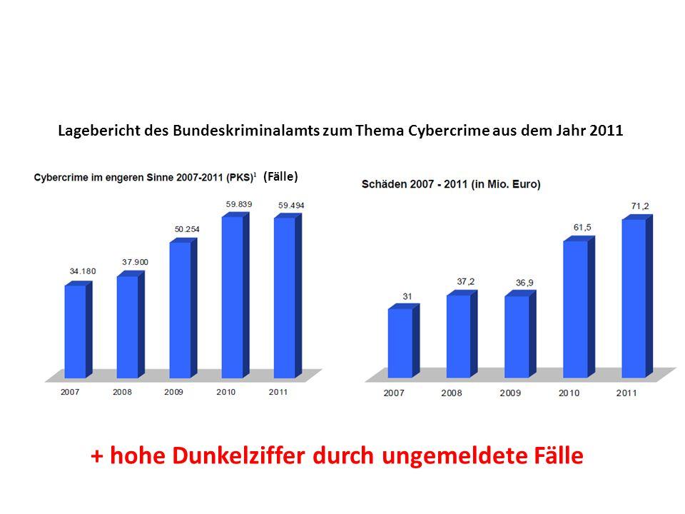 (Fälle) Lagebericht des Bundeskriminalamts zum Thema Cybercrime aus dem Jahr 2011 + hohe Dunkelziffer durch ungemeldete Fälle