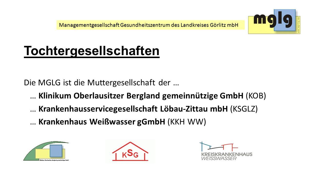 Managementgesellschaft Gesundheitszentrum des Landkreises Görlitz mbH Tochtergesellschaften Die MGLG ist die Muttergesellschaft der … … Klinikum Oberl