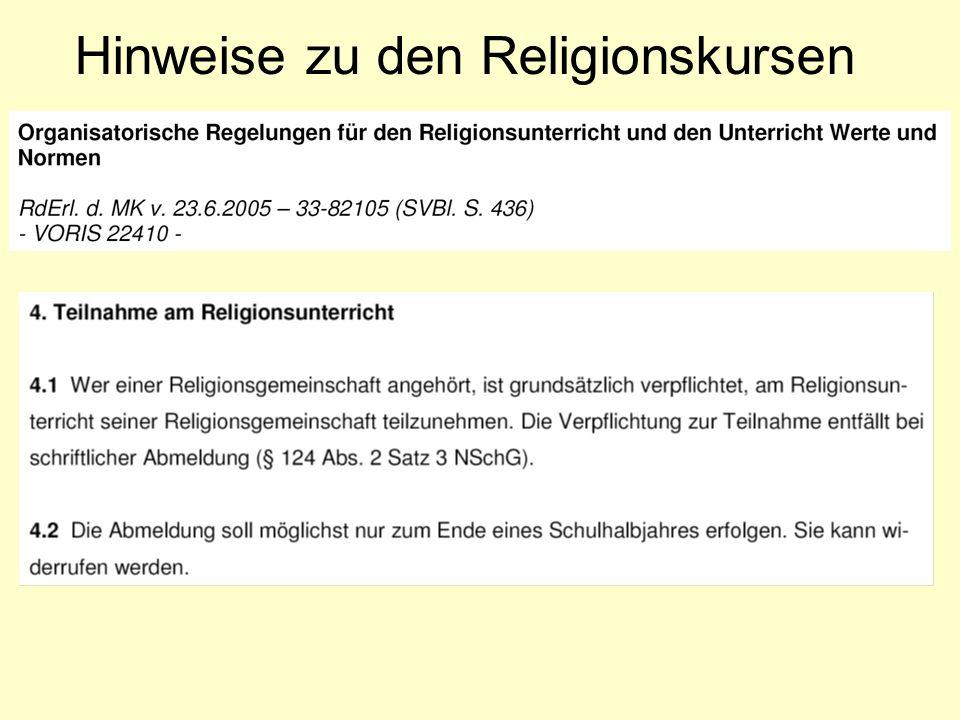 Hinweise zu den Religionskursen