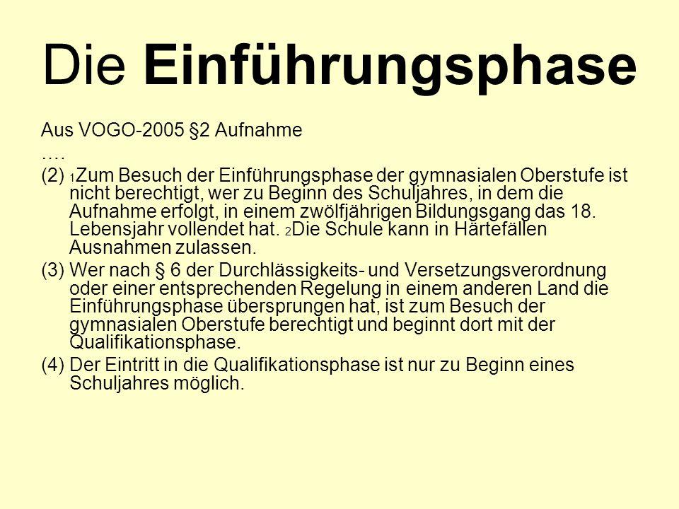 Die Einführungsphase Aus VOGO-2005 §2 Aufnahme ….