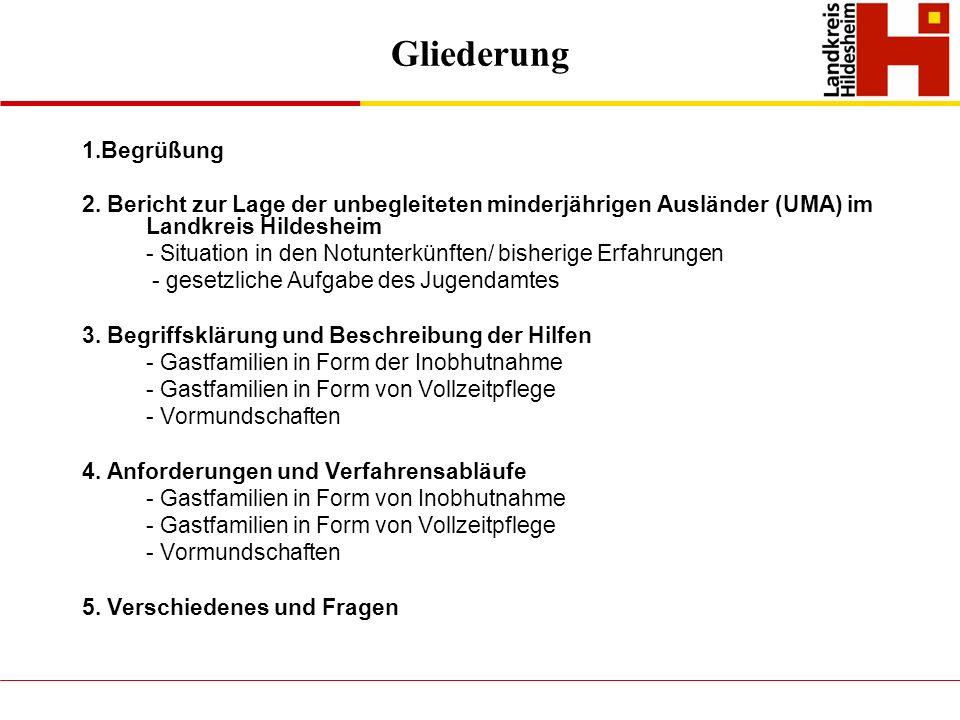 Gliederung 1.Begrüßung 2. Bericht zur Lage der unbegleiteten minderjährigen Ausländer (UMA) im Landkreis Hildesheim - Situation in den Notunterkünften