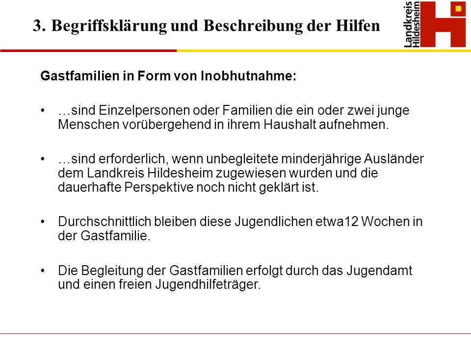 3. Begriffsklärung und Beschreibung der Hilfen Gastfamilien in Form von Inobhutnahme: …sind Einzelpersonen oder Familien die ein oder zwei junge Mensc