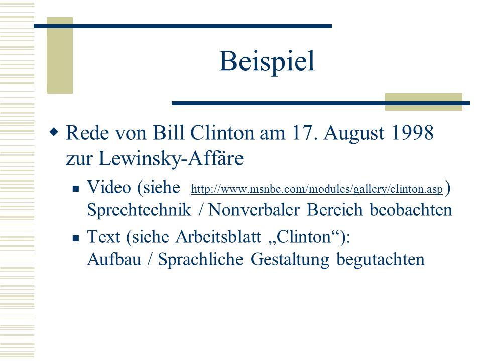 Beispiel  Rede von Bill Clinton am 17. August 1998 zur Lewinsky-Affäre Video (siehe http://www.msnbc.com/modules/gallery/clinton.asp ) Sprechtechnik