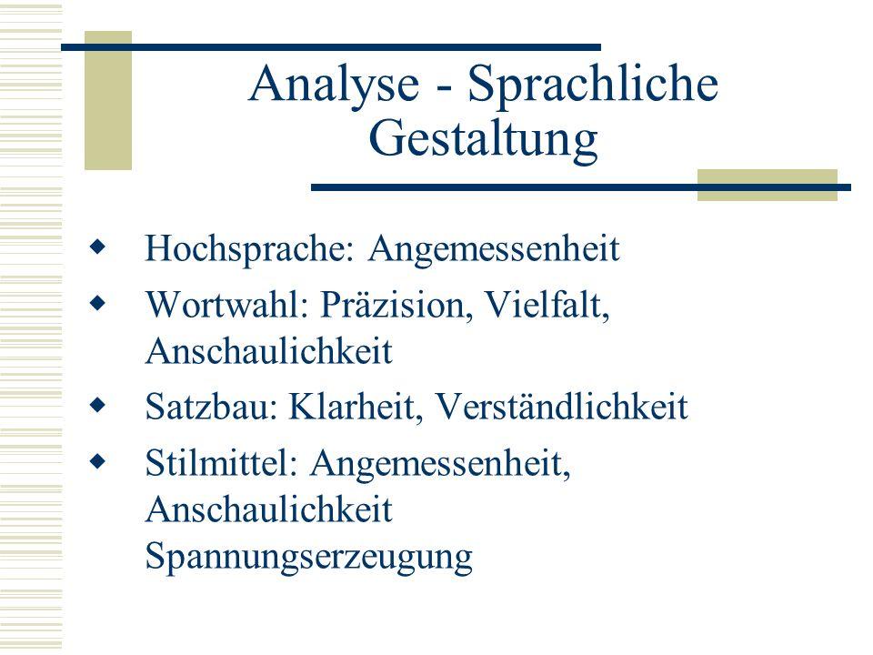 Analyse - Sprachliche Gestaltung  Hochsprache: Angemessenheit  Wortwahl: Präzision, Vielfalt, Anschaulichkeit  Satzbau: Klarheit, Verständlichkeit