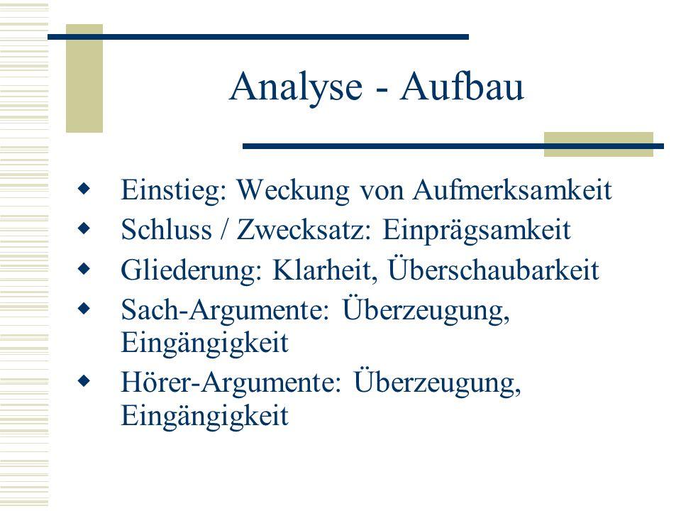Analyse - Aufbau  Einstieg: Weckung von Aufmerksamkeit  Schluss / Zwecksatz: Einprägsamkeit  Gliederung: Klarheit, Überschaubarkeit  Sach-Argument