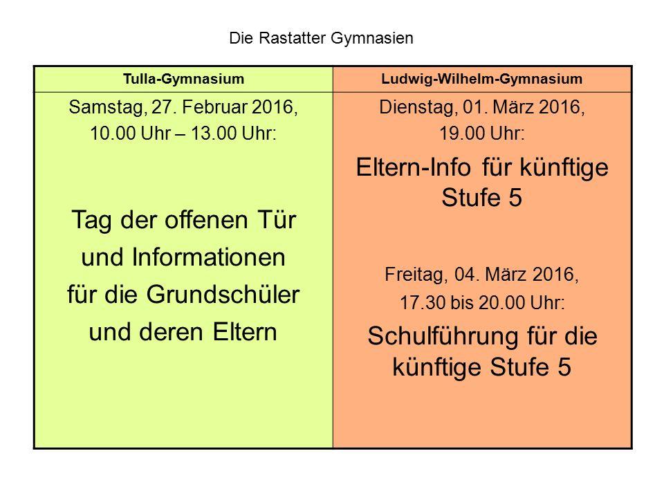 Die Rastatter Gymnasien Tulla-GymnasiumLudwig-Wilhelm-Gymnasium Samstag, 27. Februar 2016, 10.00 Uhr – 13.00 Uhr: Tag der offenen Tür und Informatione