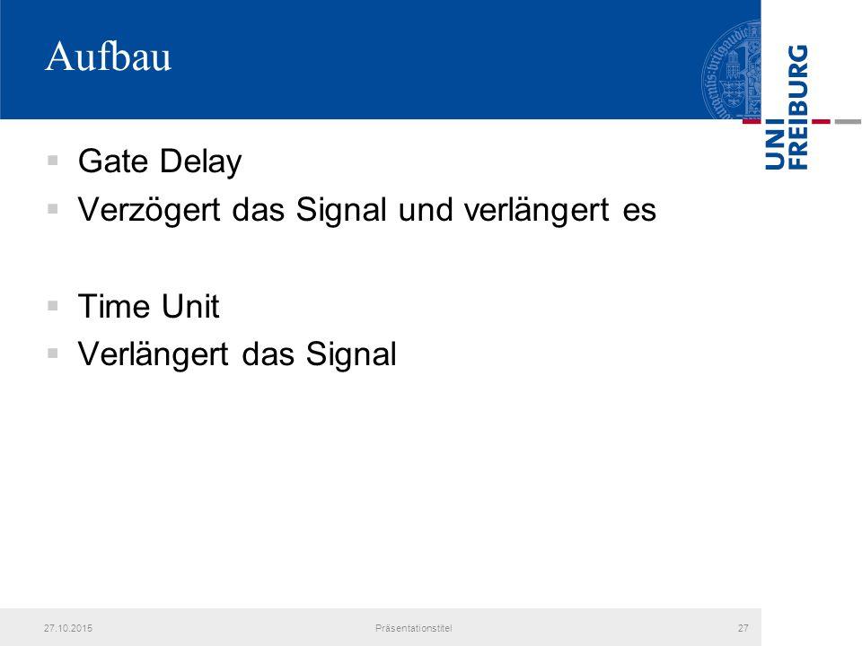 Aufbau  Gate Delay  Verzögert das Signal und verlängert es  Time Unit  Verlängert das Signal 27.10.2015Präsentationstitel27