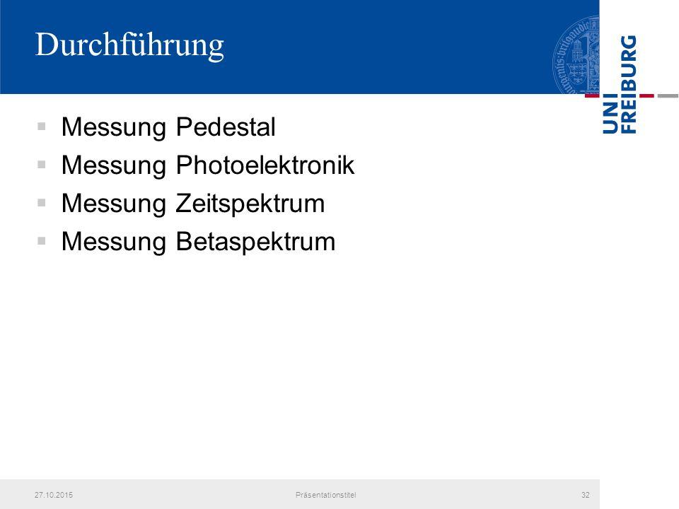 Durchführung  Messung Pedestal  Messung Photoelektronik  Messung Zeitspektrum  Messung Betaspektrum 27.10.2015Präsentationstitel32