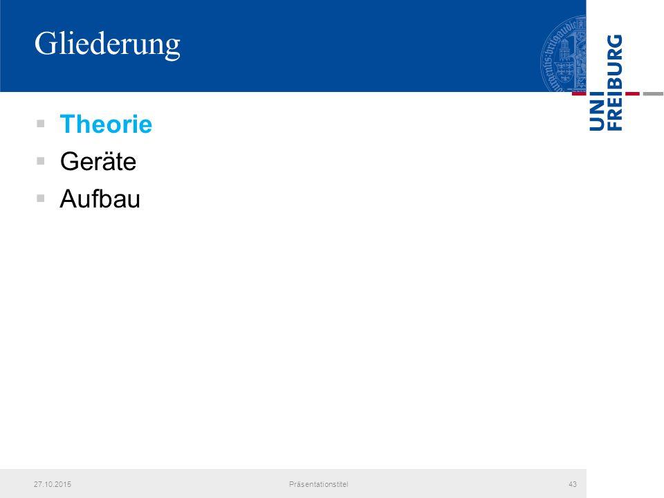 Gliederung  Theorie  Geräte  Aufbau 27.10.2015Präsentationstitel43