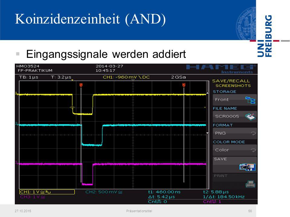 Koinzidenzeinheit (AND)  Eingangssignale werden addiert 27.10.2015Präsentationstitel56