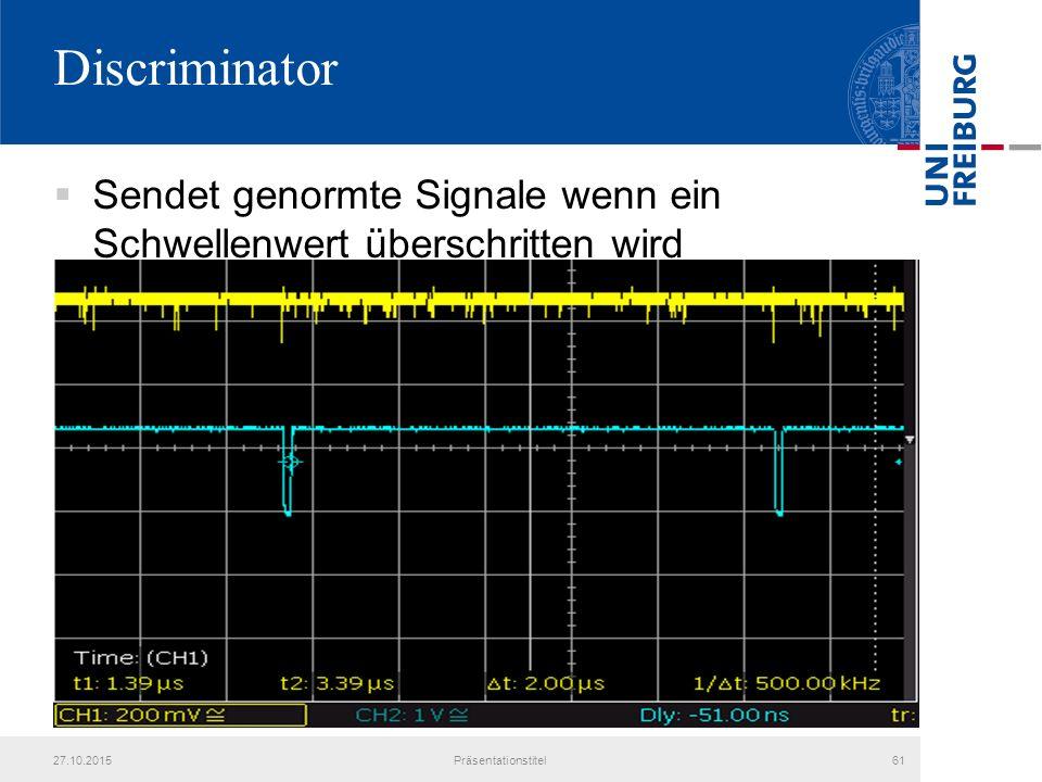 Discriminator 27.10.2015Präsentationstitel61  Sendet genormte Signale wenn ein Schwellenwert überschritten wird