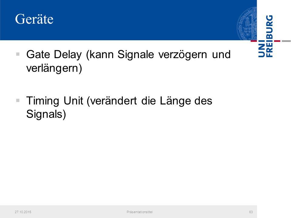 Geräte  Gate Delay (kann Signale verzögern und verlängern)  Timing Unit (verändert die Länge des Signals) 27.10.2015Präsentationstitel63