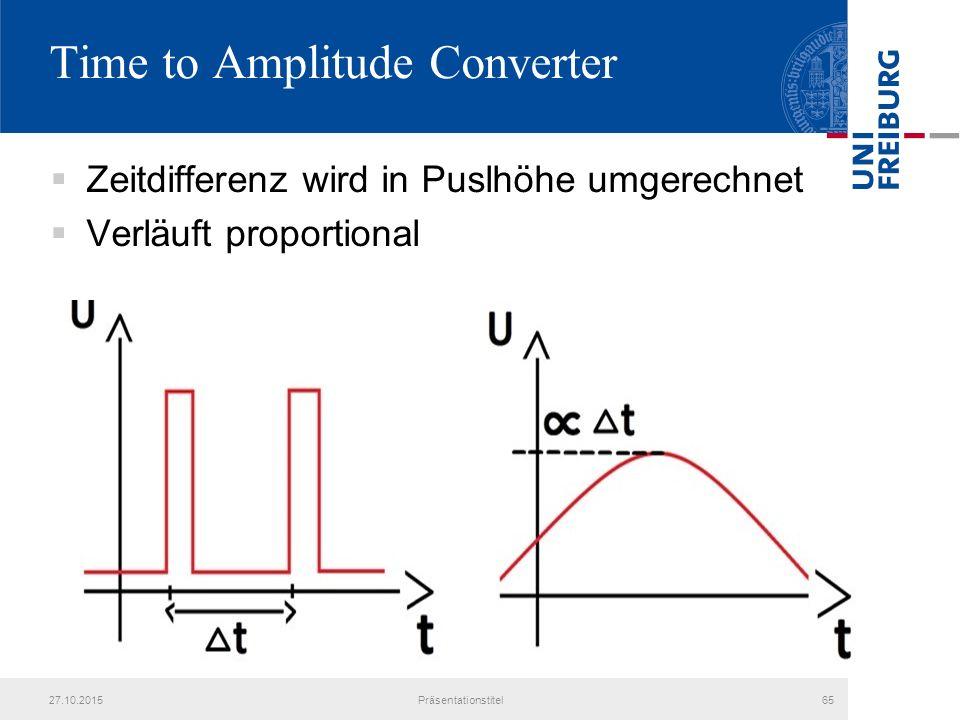 Time to Amplitude Converter  Zeitdifferenz wird in Puslhöhe umgerechnet  Verläuft proportional 27.10.2015Präsentationstitel65