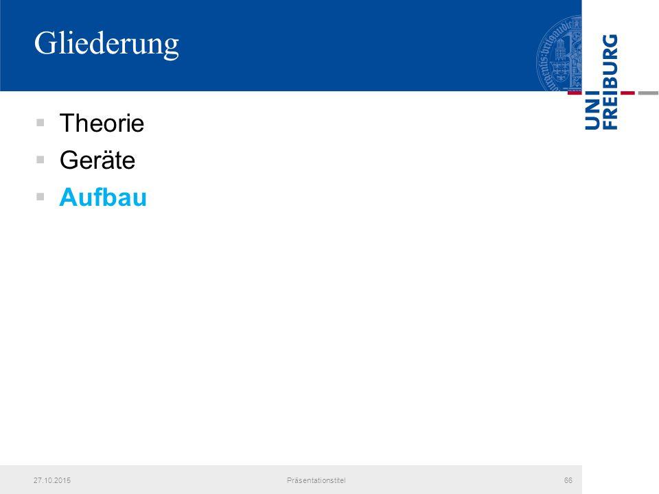 Gliederung  Theorie  Geräte  Aufbau 27.10.2015Präsentationstitel66