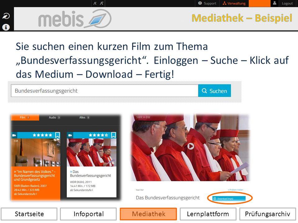 """Startseite Infoportal Mediathek LernplattformPrüfungsarchiv Sie suchen einen kurzen Film zum Thema """"Bundesverfassungsgericht ."""