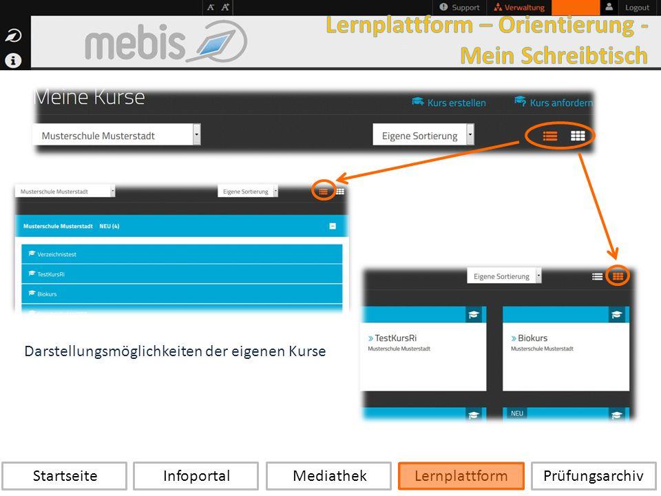 Startseite Infoportal Mediathek LernplattformPrüfungsarchiv Darstellungsmöglichkeiten der eigenen Kurse