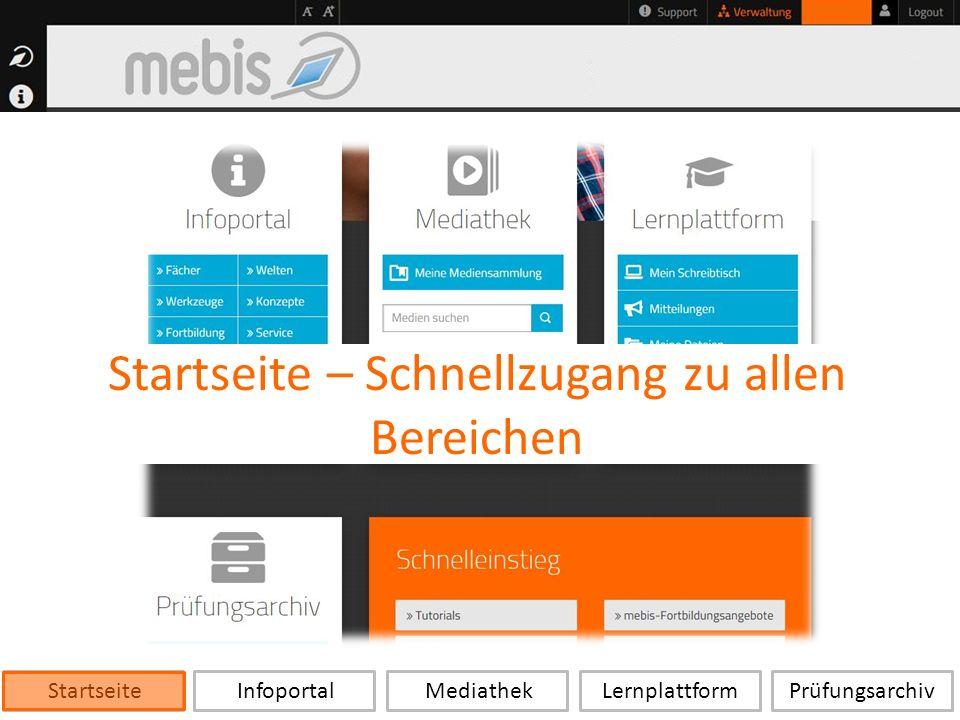Startseite Infoportal Mediathek LernplattformPrüfungsarchiv Startseite – Schnellzugang zu allen Bereichen